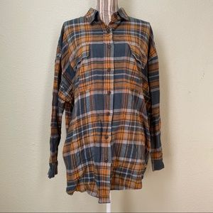 wild fable Plaid Button Down Shirt Yellow/Green L